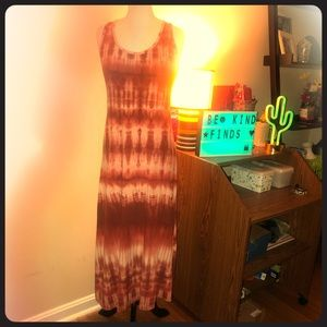 Red and white tie dye maxi dress